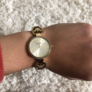Watch with leather strap
